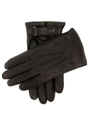 Hampton | Black Peccary Leather Gloves