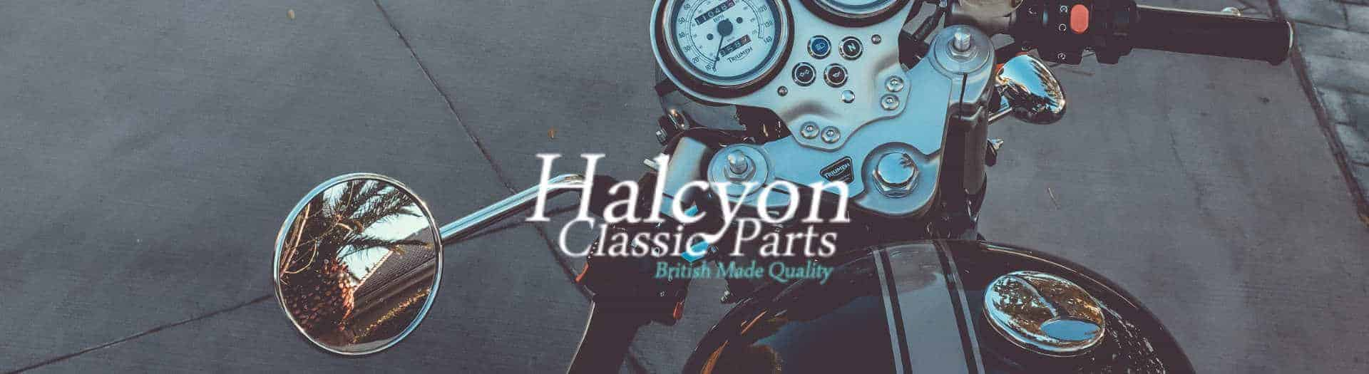 Handmade Vintage Motorcyle With Halcyon Goggles Logo Header