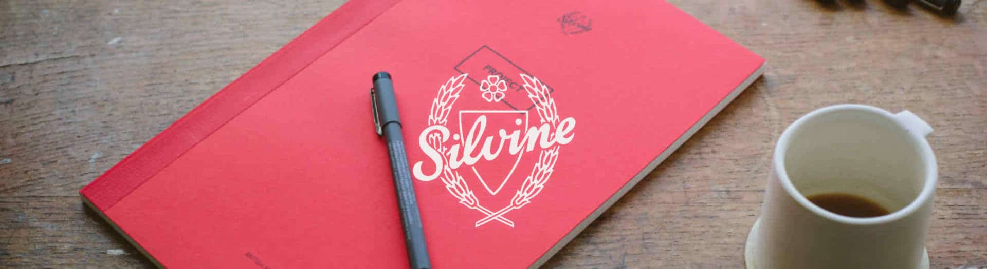 Handmade Silvine Originals notebooks header with white Silvine logo