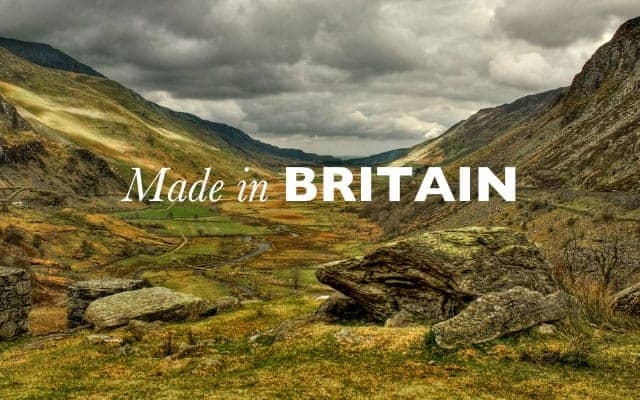 landscape scene of Britain with Made in Britain type over the top