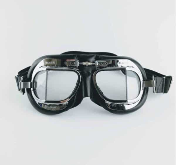 silver and black leather vintage motorbike goggles
