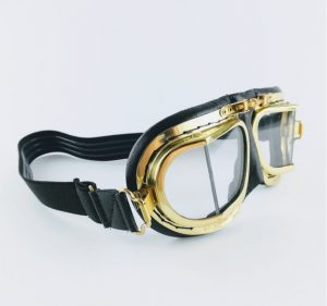 Halcyon Brass & Leather Goggles on white background