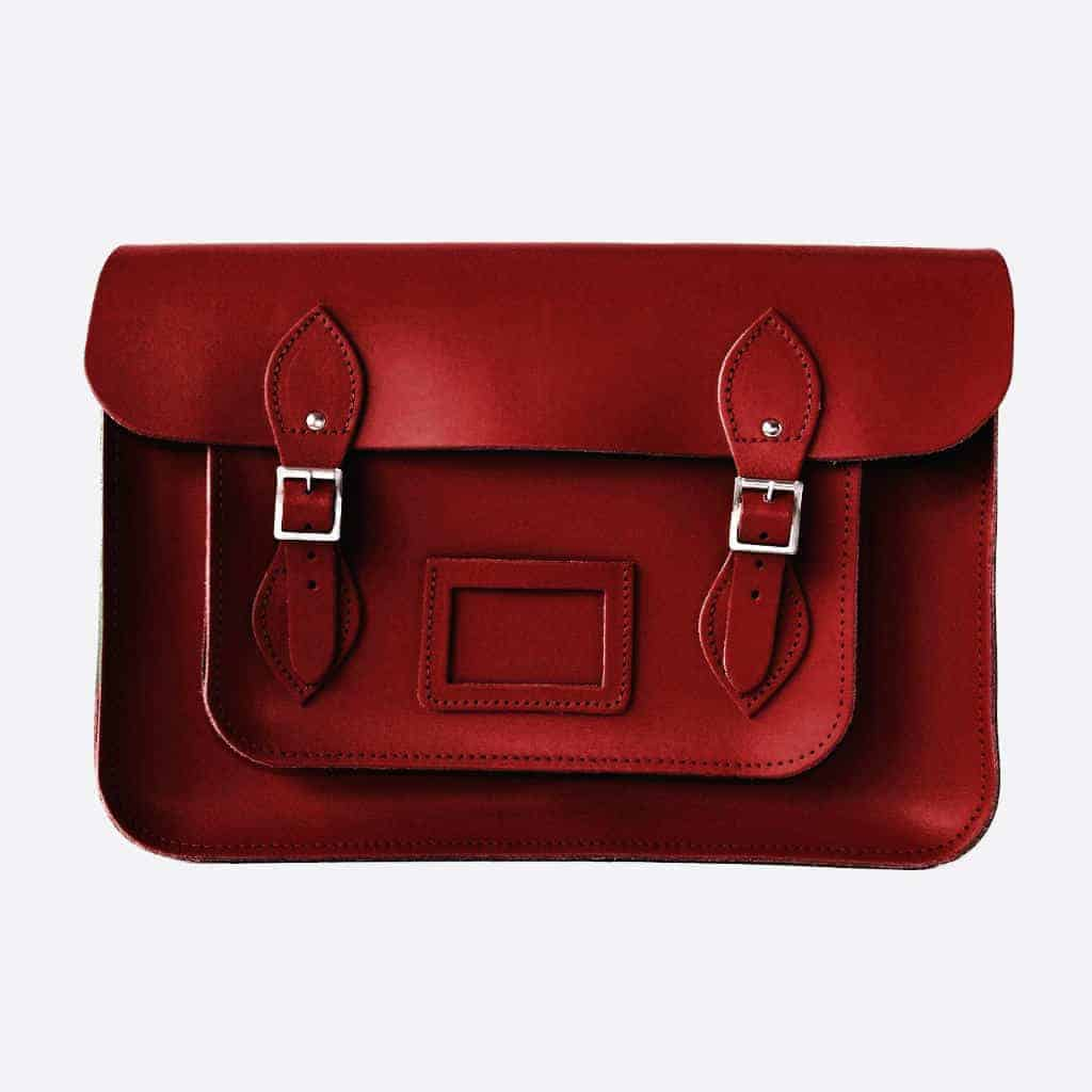 Rouge Red Satchel Product - British made luxury handcrafted unique gifts for him