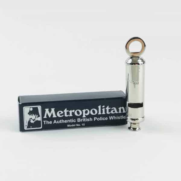 Silver Acme metropolitan police whistle with presentation box