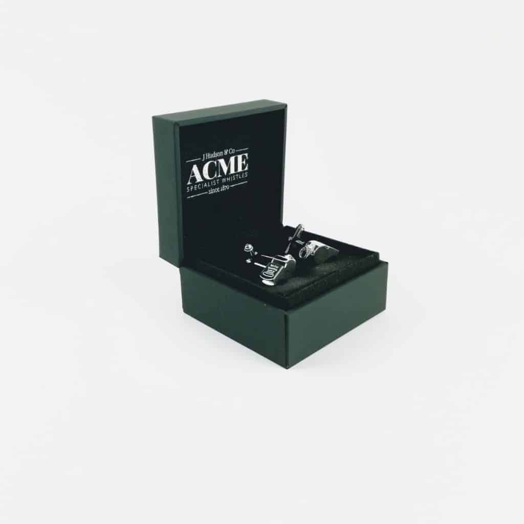 Sterling silver Acme whistles cufflinks in open presentation box