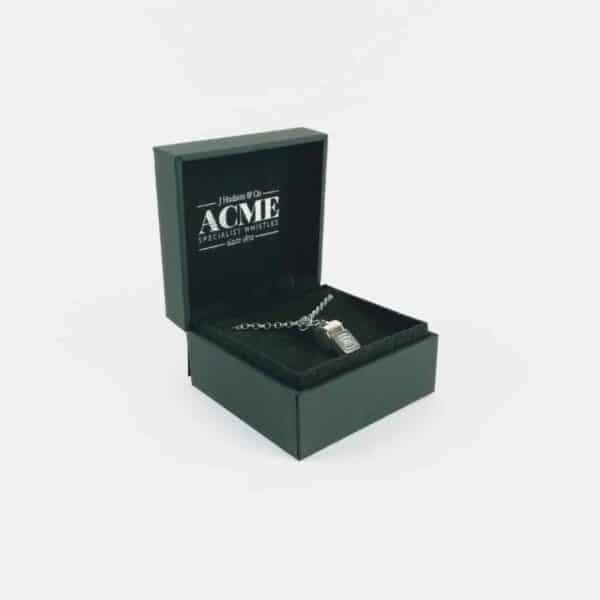 Acme sterling silver whistle necklace in open presentation bx
