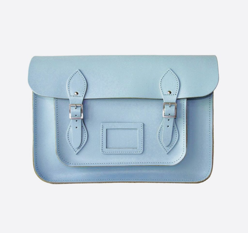 aegeon blue leather satchel front - British made luxury handcrafted unique gifts for her