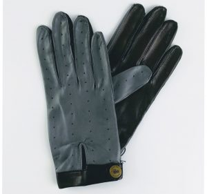 chester jefferies the morgan frigate grey and black leather driving gloves for men