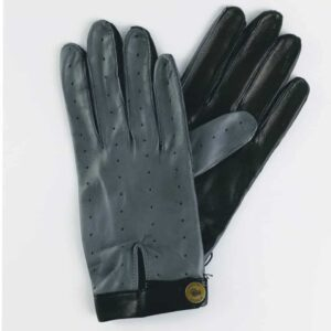 The Morgan Driving Gloves | Frigate Grey and Black Leather