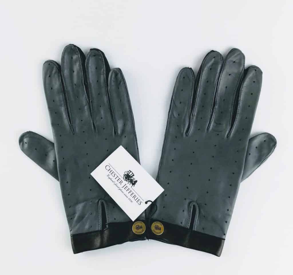 chester jeffries the morgan driving gloves grey and black leather 2