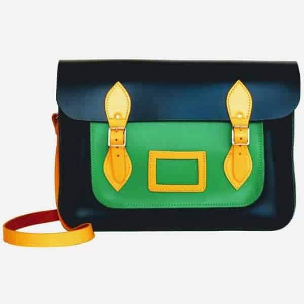Original Satchel store Harlequin Leather Satchel in green and yellow