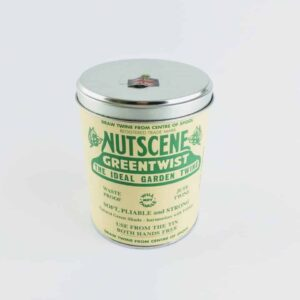 nutscene iconic tin of green nutscene twine, easy spoling green garden string in a metal tin made in scotland