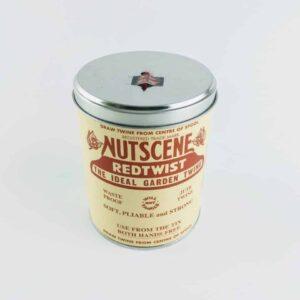 nutscene iconic tin of red nutscene twine, jute twine in a metal tin spooling garden twine