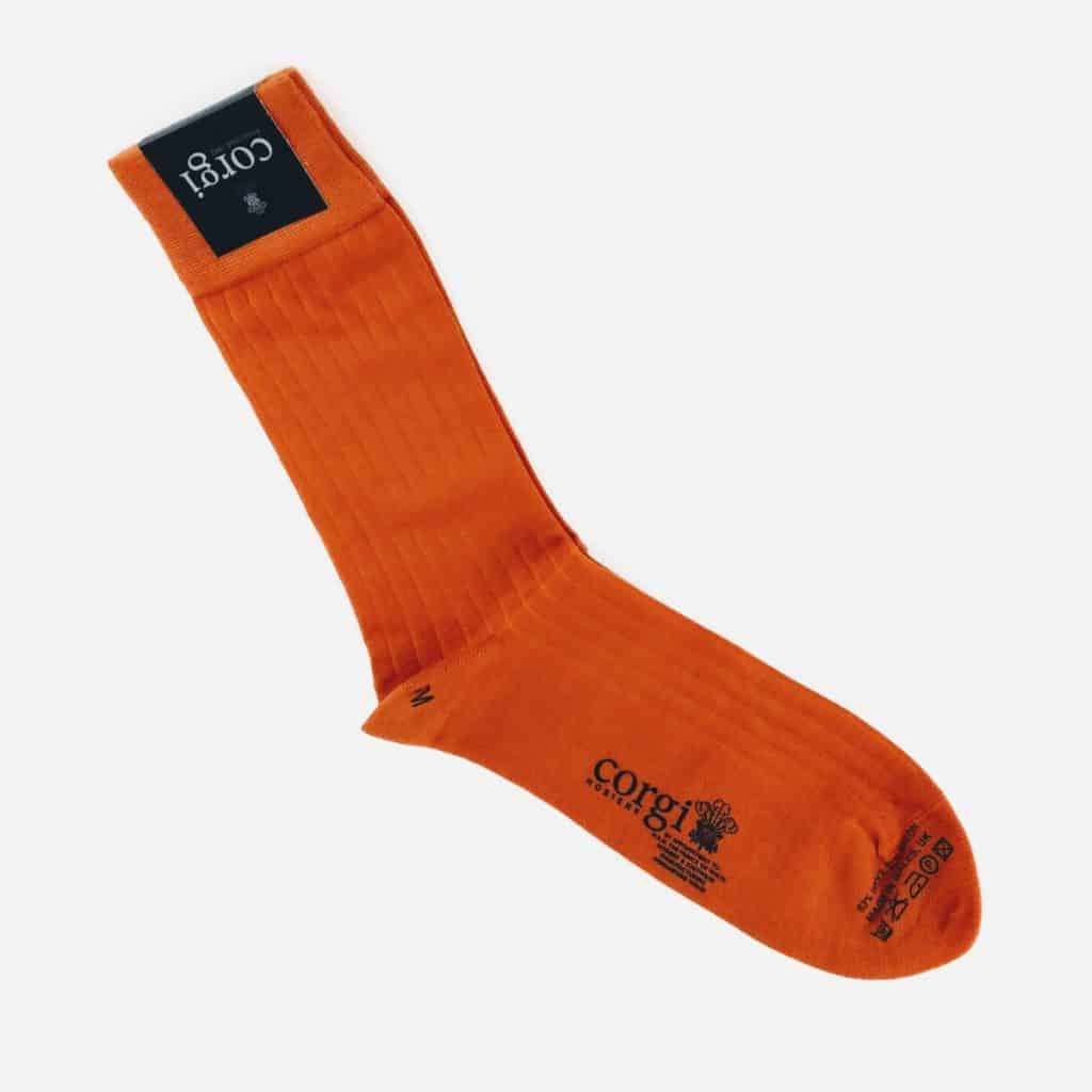 orange wool socks lightweight - British made luxury handcrafted unique gifts for him
