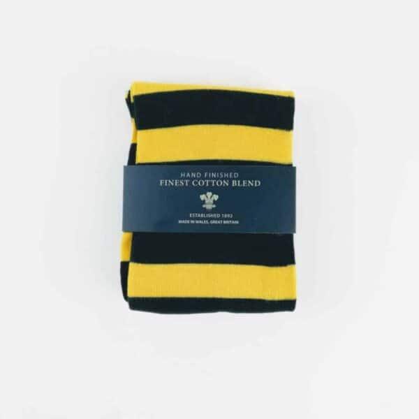 british yellow and black socks folded up