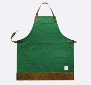 risdon and risdon shropshire green canvas apron with leather trim