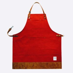risdon and risdon factory red canvas apron with leather trim