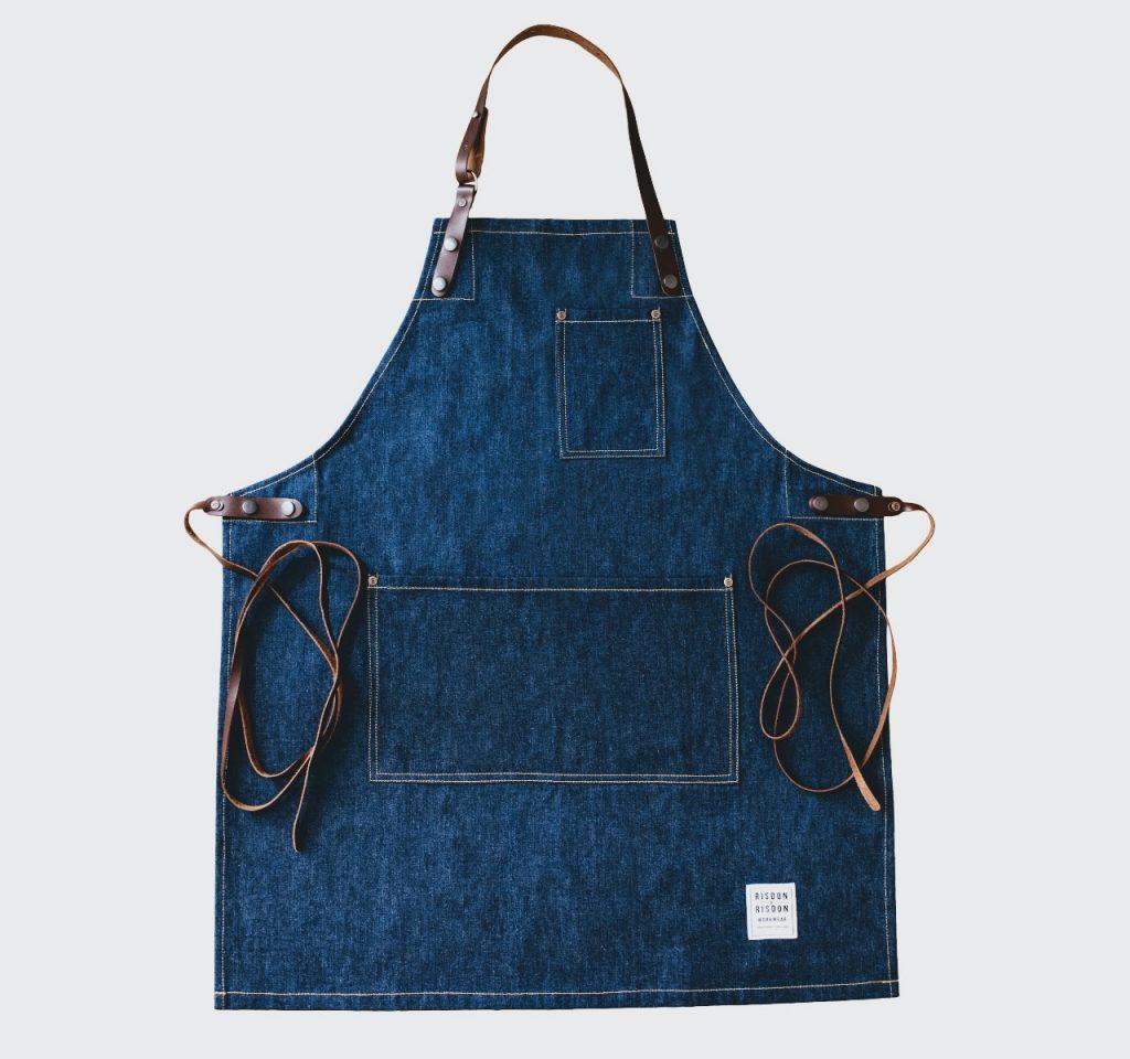 risdon risdon full length denim apron, barista apron denim with leather straps made in UK apron