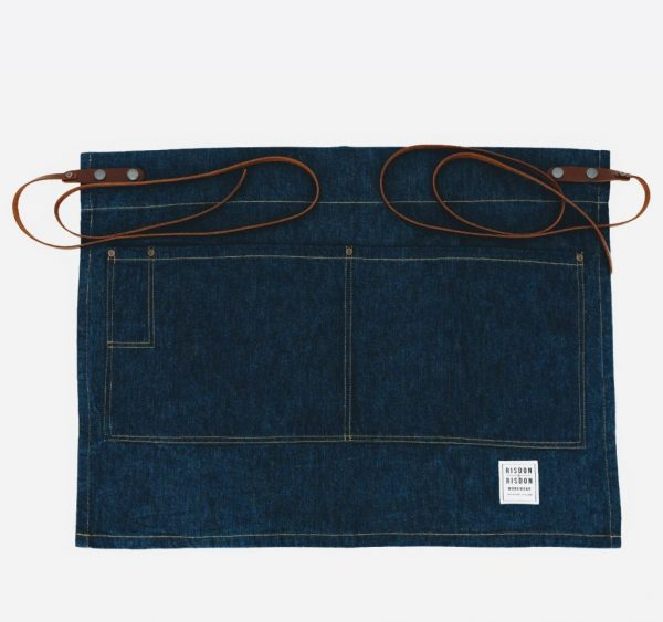 risdon and risdon half length denim apron with leather straps