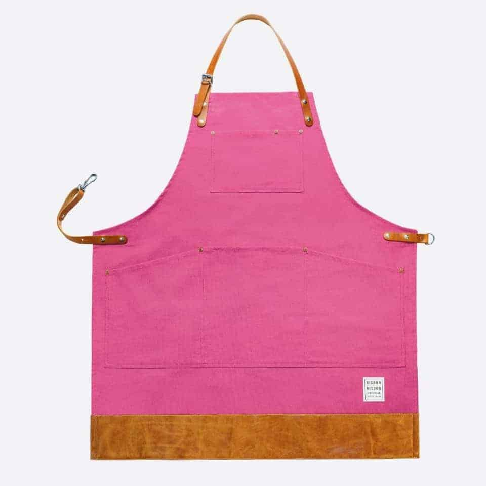 Risdon and Risdon pink canvas apron with leather trim
