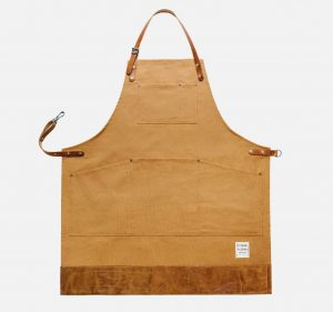 risdon and risdon trade brown canvas apron with leather trim