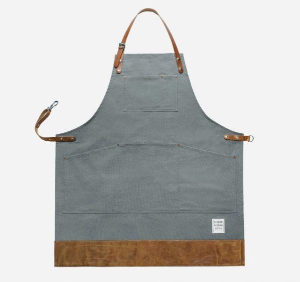 Risdon and Risdon grey apron with leather trim