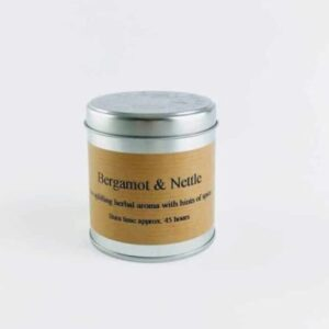 st eval candles bergamot and nettle scented tin candle, hand poured tin candle made in cornwall spicy tin candle