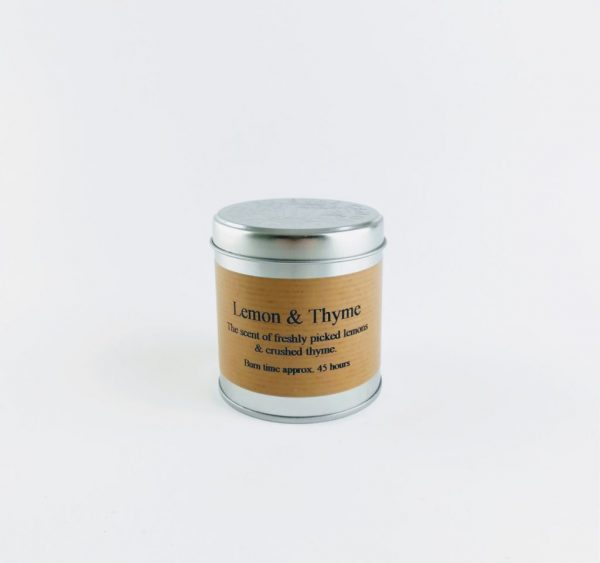 st eval lemon and thyme scented tin candle
