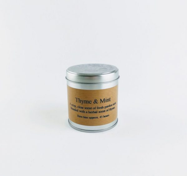 st eval thyme and mint tin candle