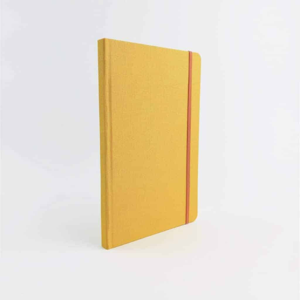 stamford notebook sunshine yellow woven cloth notebook back - British made luxury handcrafted unique gifts for her