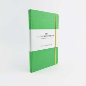 stamford Apple Green Woven Cloth Notebook with yellow strap