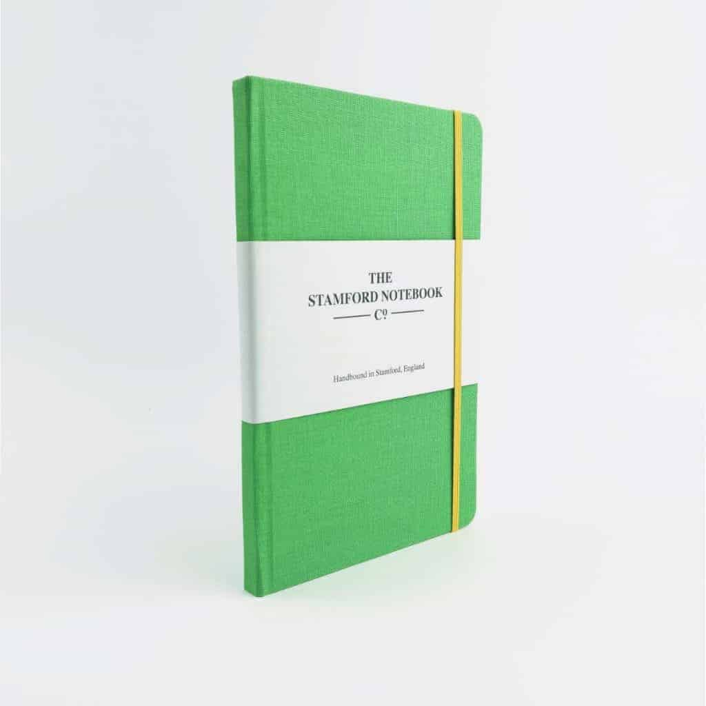 stamford notebooks apple green woven cloth notebook front