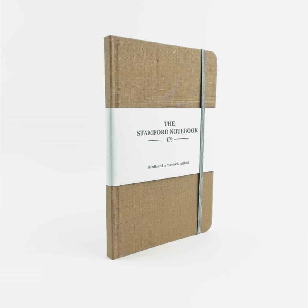 stamford notebooks fawn woven cloth notebook front