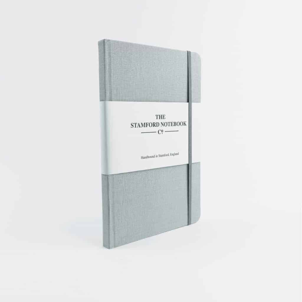 stamford notebooks grey woven cloth notebook front - Blue Plaque - The Writing is on the Wall