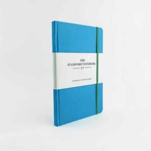stamford notebooks sea blue woven cloth notebook front