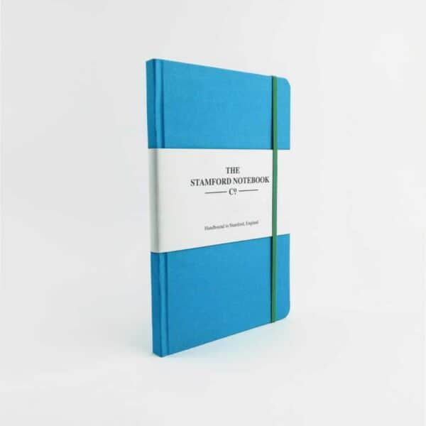 stamford Sea Blue Woven Cloth Notebook with green strap