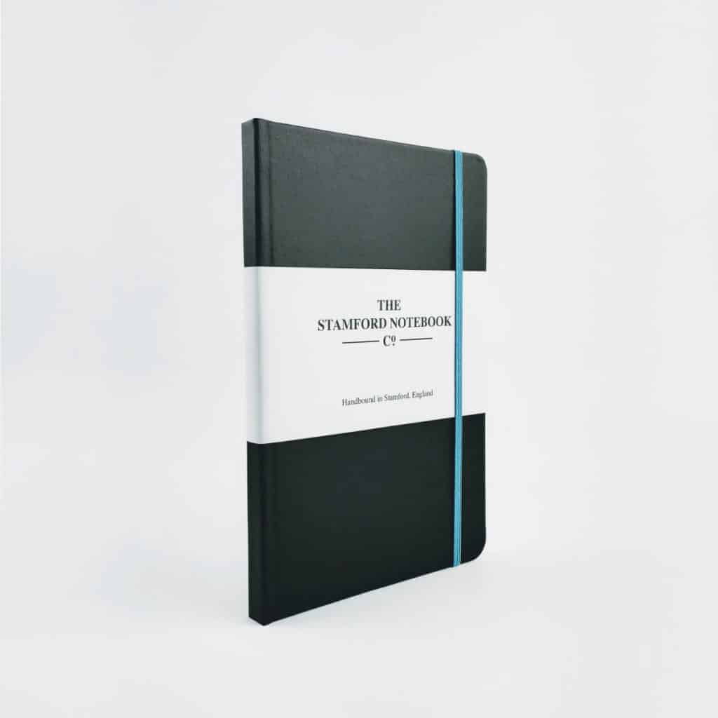 stamford notebooks vibrant buckram black notebook front - British made luxury handcrafted unique gifts for him
