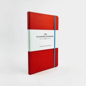 stamford notebook Vibrant Buckram Red Notebook with light blue strap