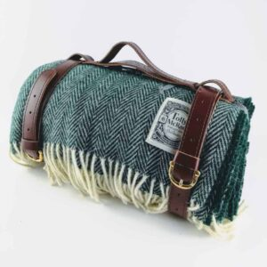 tolly mcrae botanical green chunky picnic blanket, british wool green picnic rug, luxury picnic rug with leather carry strap