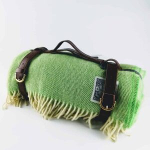tolly mcrae gin tonic chunky picnic blanket, green picnic blanket, light green settee throw in wool, made in UK