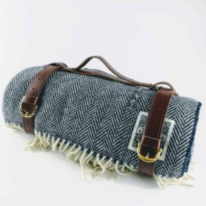 tolly mcrae navy blue chunky picnic blanket, british wool navy blue luxury picnic rug with leather carry handle, luxury green throw