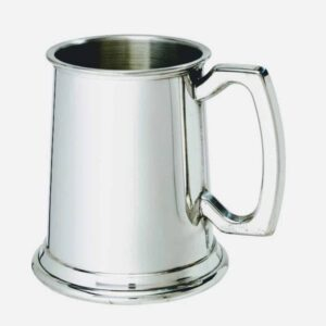 half pint pweter tankard on white background