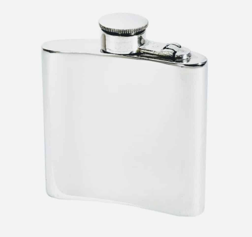wentworth kidney shaped pewter hip flask back - British made luxury handcrafted unique gifts for her