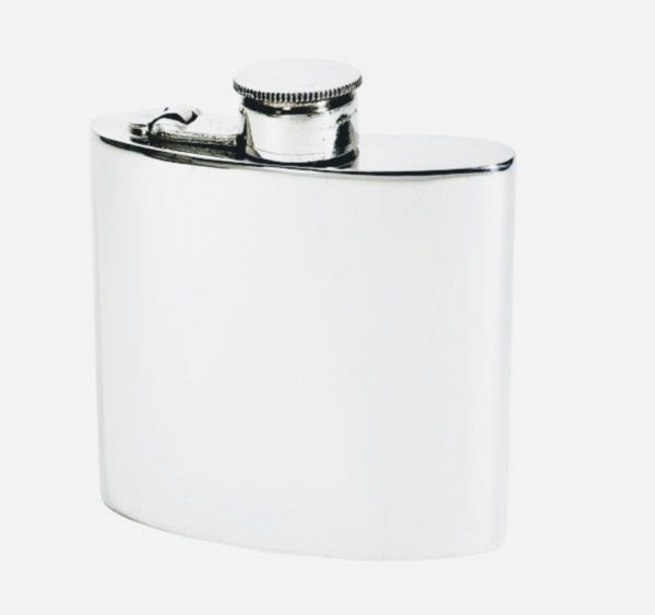 Wentworth Pewter kidney shaped Hand finished with captive cap in silver Hip Flask
