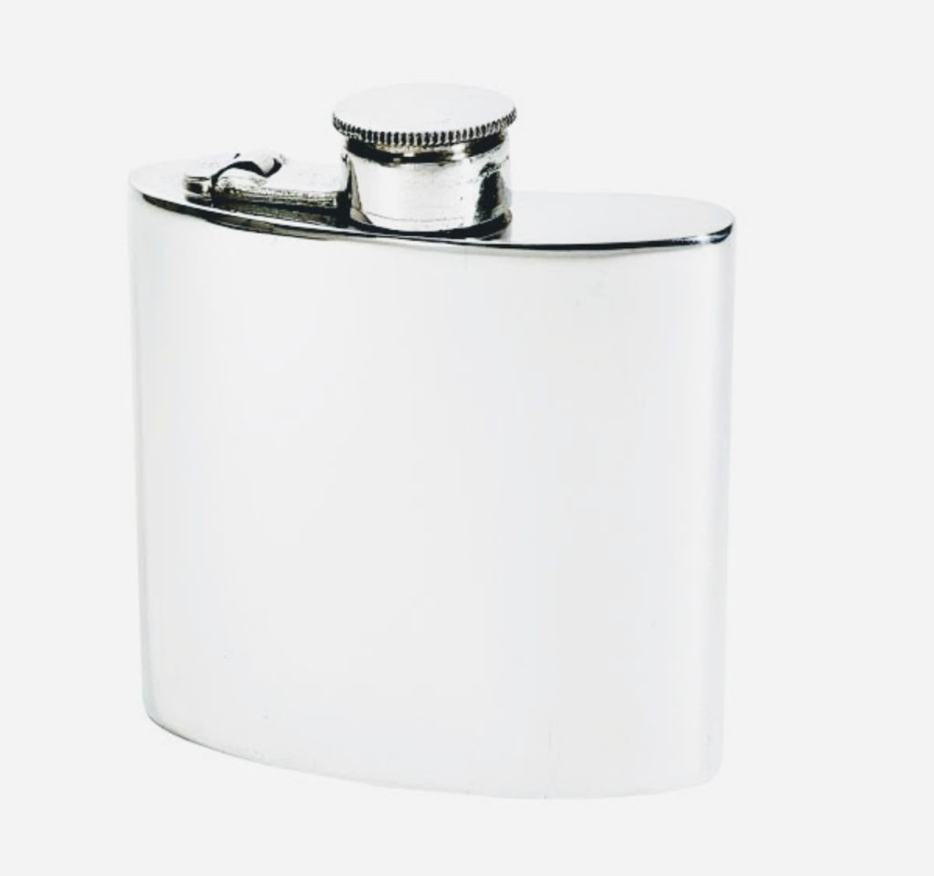 wentworth kidney shaped pewter hip flask front - British made luxury handcrafted unique gifts for her