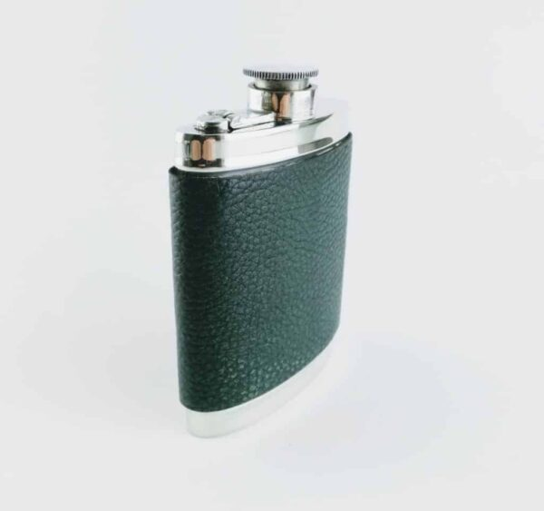 Wentworth Pewter and Green Leather Hip Flask
