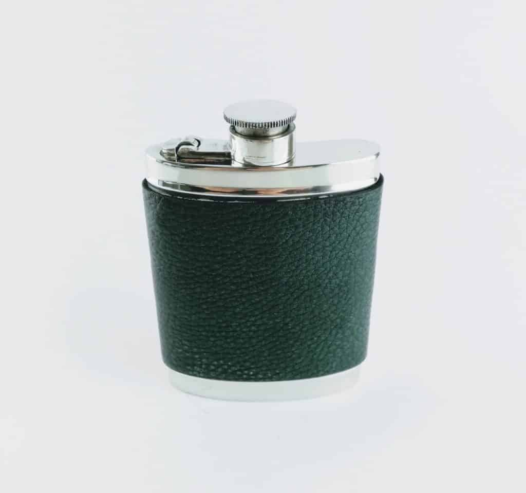 wentworth pewter and green leather hip flask 2 - British made luxury handcrafted unique gifts for him