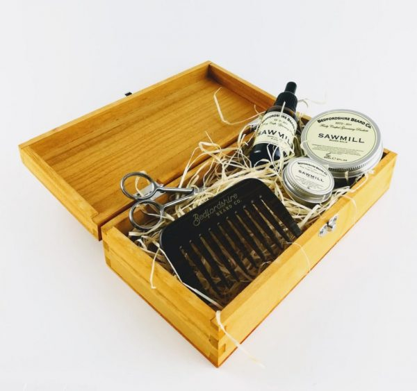 bedfordshire beard co sawmill beard care gift set in open presentation box