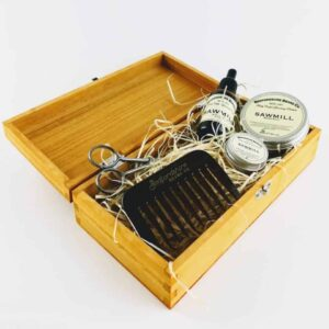 bedfordshire beard co sawmill beard care set, woody scented beard care set in wood presentaion box, made in britain beard care set