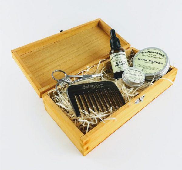 bedfordshire beard co dark pepper beard care gift set in open wooden presentation box